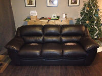 Black Leather Couch Set: 3 pieces