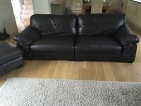 XL Brown Leather Sofa, Arm Chair & Footstool.