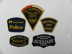 Five vintage police patches