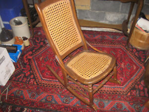 Antique cane low-rocking chair