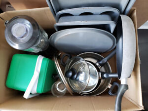 Box of Assorted Kitchen Supplies