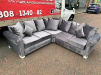 Brand new grey plush fabric Chesterfield corner group sofa £699