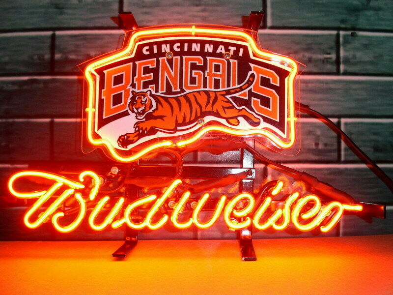 Budweiser Bud Light Cincinnati Bengals  Neon Sign Beer Bar G