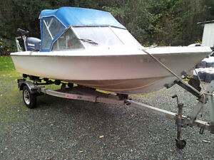 16 foot runabout fishing boat with 4 stroke 50 hp yamaha