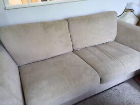 Three Seater Cream Fabric Sofa