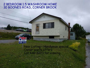 2 BEDROOM HOME IN CORNER BROOK. OPPORTUNITY TO ADD VALUE