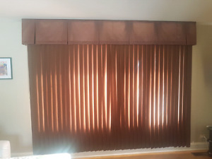 Vertical blinds with curtain attached