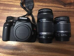 Canon t2i avec lentilles EFS 55-250 et EFS 18-55
