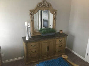 Dresser with mirror solid wood