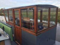 Narrowboat. Dutch barge style mahogany wheel house for sale.
