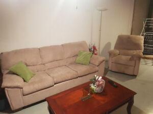 Ensemble sofa et fauteuil inclinable