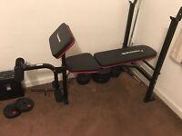 Maximuscle bench press, leg press, squat rack