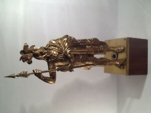 Osage Indian Chief Brass Statue on Wooden Base