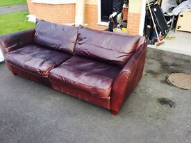 Collins and Hayes Large Three Seater leather sofa