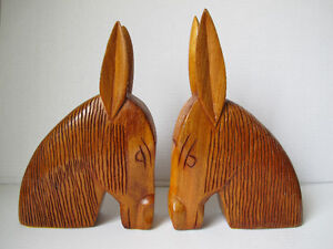 Hand Carved Horse Bookends
