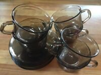 VINTAGE GLASS CUPS AND SAUCERS