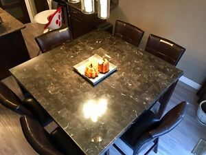 Modern 7 Piece Dining set - Real Marble top  Strathcona County Edmonton Area image 3