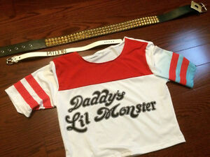 Harley Quinn Costume - Size Small - Shirt, Belt, and Necklace