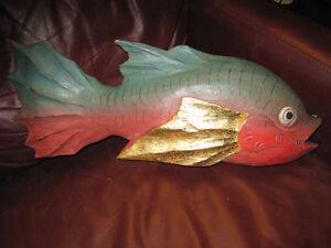 LARGE WOODEN DECORATVIE PAINTED FISH