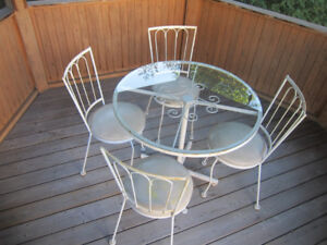 Vintage Metal Patio Set Painted White - Glass Table Top