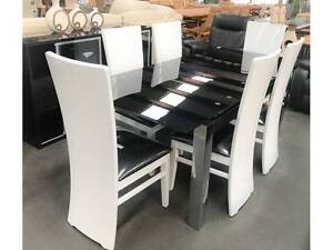 Eclipse Glass Top Dining Table & 6 x Black and White Gloss chairs Condell Park Bankstown Area Preview