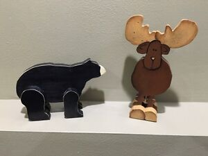 Handcrafted Bear & Moose Wooden Figures