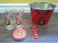 Ottawa Senators Pub Glasses and Ice Bucket Set