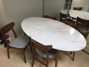 West Elm Genuine Marble Dining Set (Kitchen Table and 4 Chairs)