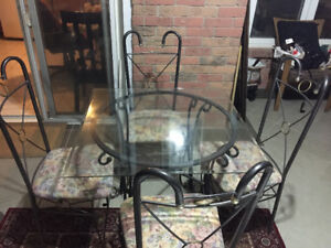 Elegant Glass Top Wright Iron Dinette Table Set w/ 4 Chairs