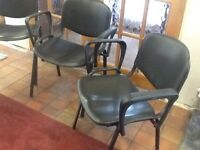 4 black stacking chairs Metal frame, plastic seats Good clean condition Collect from, Telford