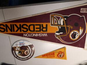Washington Redskin Superbowl XVIII  pin and Vintage Banners