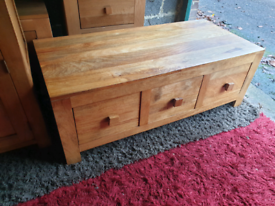 Oak Furniture Land Mantis Solid Mango Coffee Table with 6 Drawers