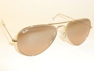 New RAY BAN Aviator Sunglasses Gold Frame RB 3025 001/3E Pink Mirror Lenses 55mm