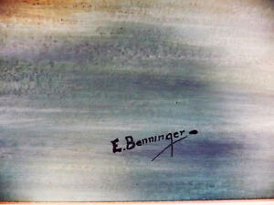 """Panoramic Countryside by E. Benninger """"Across the River"""" 1970's Stratford Kitchener Area image 5"""