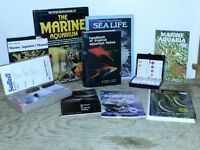 Salt water aquarium books and test kits