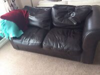 Laura Ashley brown leather sofa