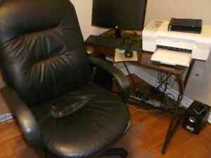 Computer Table with Office Chair and Plastic Floor Protector