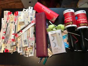 Lots of pen refills, pencil, erasers,file folders