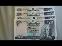 Consecutive Uncirculated British banknotes