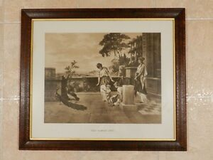 "Antique Print ""The Family Pet"" in Quarter Sawn Oak Frame"