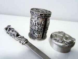 PEWTER HUMMINGBIRD SET letter opener STAMP HOLDER DISPENSER 1995