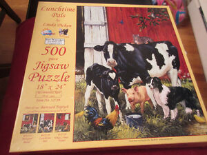 500 Piece puzzle  - Lunchtime Pals Cows.......farmyard friends