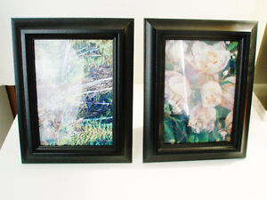 TWO SMALL PRINTS, PICTURES - FLOWERS, TULIPS, FOREST, TREES