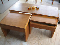 RETRO VINTAGE TEAK FURNITURE. COFFEE TABLE, DINING HUTCH