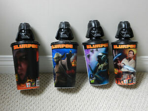 STAR WARS 7 eleven HOLOGRAPHIC SLURPEE CUPS WITH DARTH VADER TOP