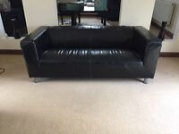 BLACK REAL LEATHER 2 X 2 SOFAS CAN DELIVER FREE SUPERB