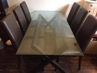 High quality glass dining table, wood frame, 6 leather chairs