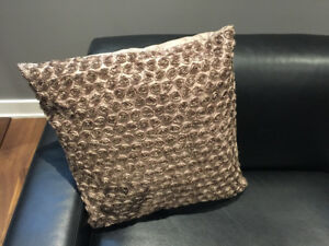 Cushions with rose 3D patterned ,chocolate brown , silk finished