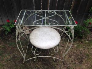 WROUGHT IRON BEDROOM GLASS TABLE MAKEUP VANITY SET