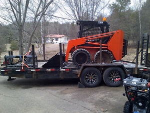 Thomas Skid Steer with Trailer and Backhoe Attachment